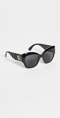 Gucci - Matelasse Rounded Cat Eye Sunglasses