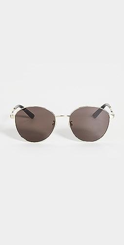 Gucci - Vintage Web Round Metal Sunglasses