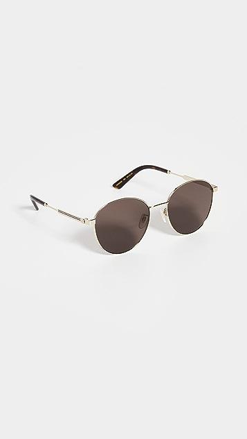 Gucci Vintage Web Round Metal Sunglasses