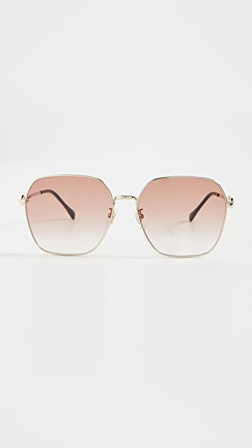 Gucci Horsebit Metal Square Sunglasses