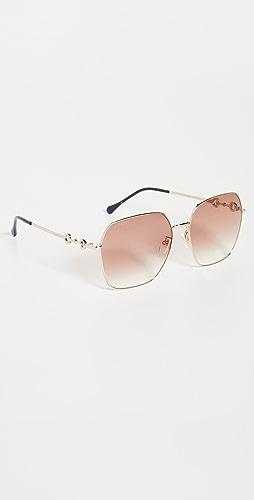 Gucci - Horsebit Metal Square Sunglasses
