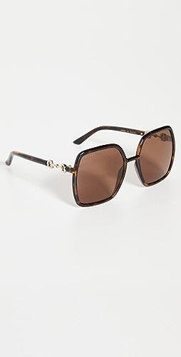 Gucci - Horsebit Oversized Square Sunglasses