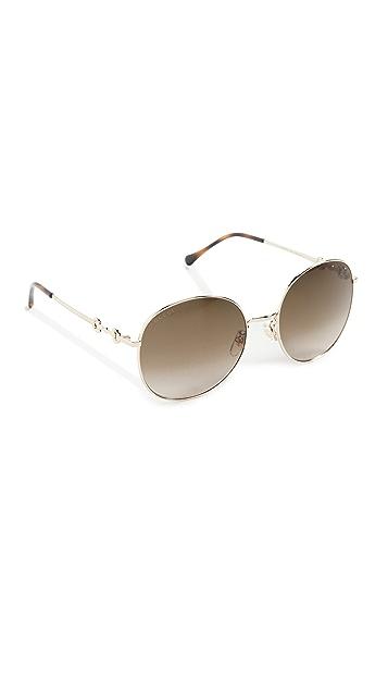 Gucci Horsebit Metal Round Sunglasses