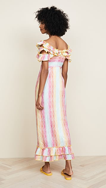 Gul Hurgel Off the Shoulder Stripe Dress