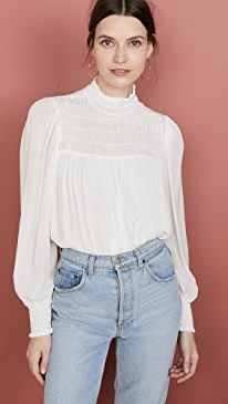 Willow Smocked Mock Neck Blouse