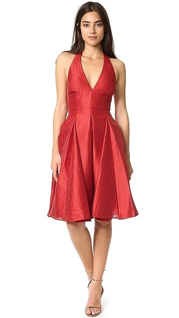 Halston Heritage Flared Skirt Jacquard Dress