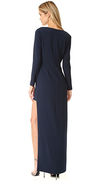Halston Heritage Asymmetrical V Neck Gown