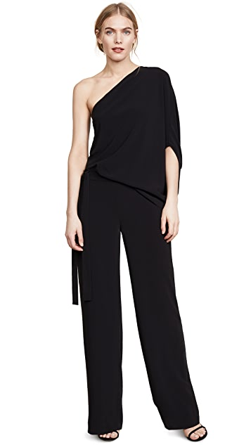 HALSTON Asymmetrical Wide Leg Jumpsuit