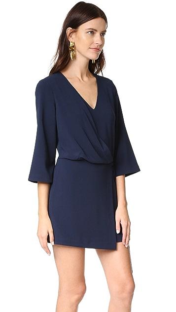 Halston Heritage V Neck Dress with Overlay & Ties