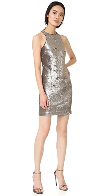 Halston Heritage Racer Back Sequined Dress