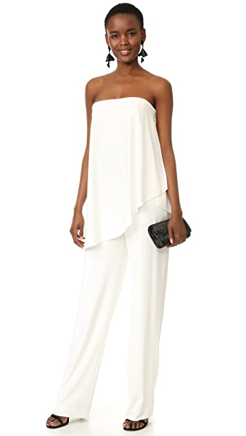 a0ae5df435f3 ... Halston Heritage Strapless Asymmetrical Overlay Jumpsuit ...