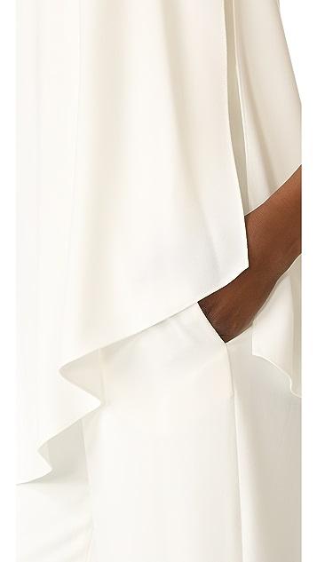 Halston Heritage Strapless Asymmetrical Overlay Jumpsuit