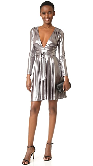 Halston Heritage Draped Metallic Dress