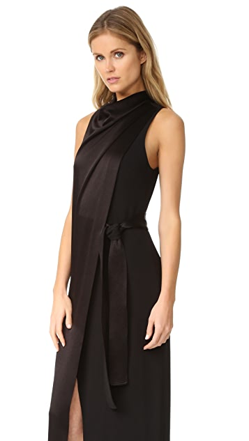 Halston Heritage Draped Neck Satin Gown with Belt
