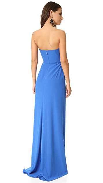 Halston Heritage High Slit Strapless Gown