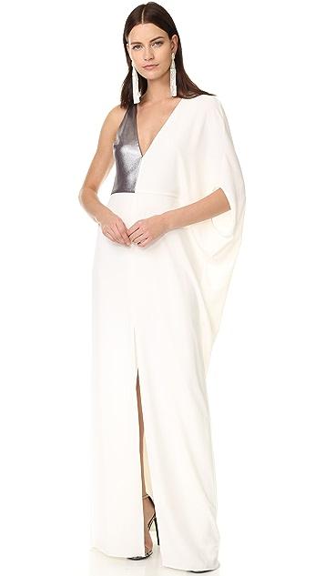 Halston Heritage Asymmetrical Deep V Neck Gown