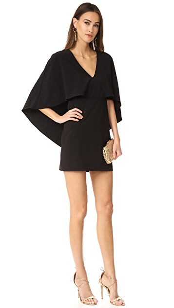 Halston Heritage V Neck Crepe Dress with Cape