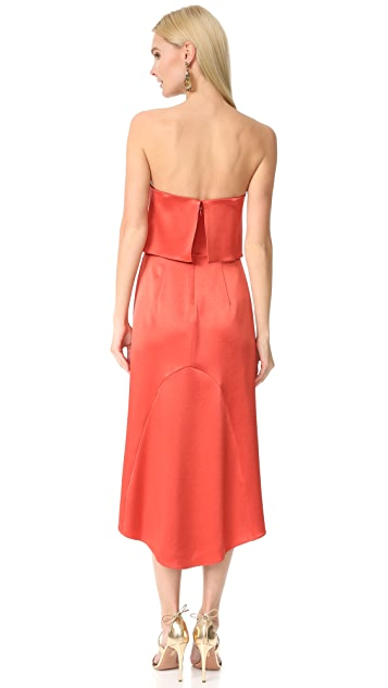 Halston Heritage Strapless Satin Dress