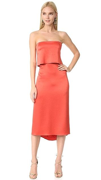 Halston Heritage Атласное платье без бретелек
