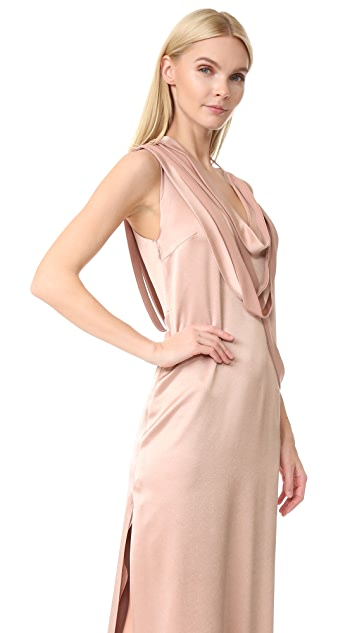 Halston Heritage Sleeveless Slip Gown with Draped Strips