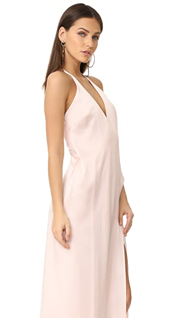 Halston Heritage V Neck Slip Gown with T Back