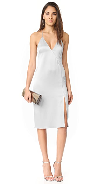 Halston Heritage V Neck Slip Dress with Slit
