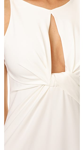 Halston Heritage Round Neck Gown with Twisted Front