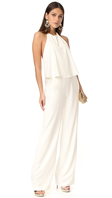 Halston Heritage Sleeveless Halter Neck Jumpsuit