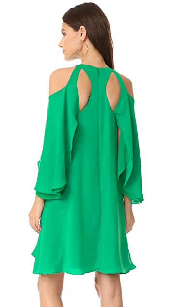 Halston Heritage Cold Shloulder Ruffle Dress