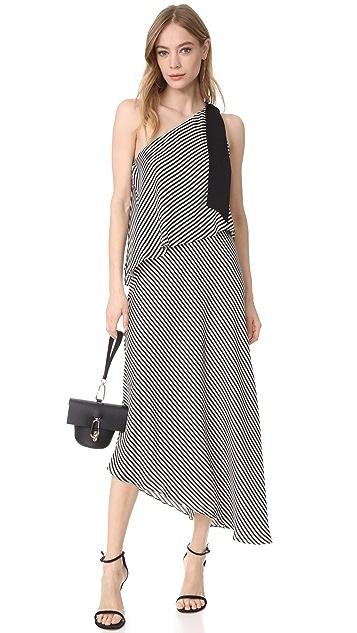 Halston Heritage One Shoulder Stripe Dress