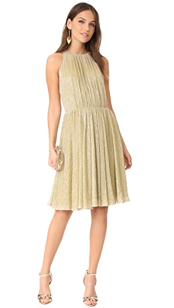 Halston Heritage Metallic Back Strap Dress