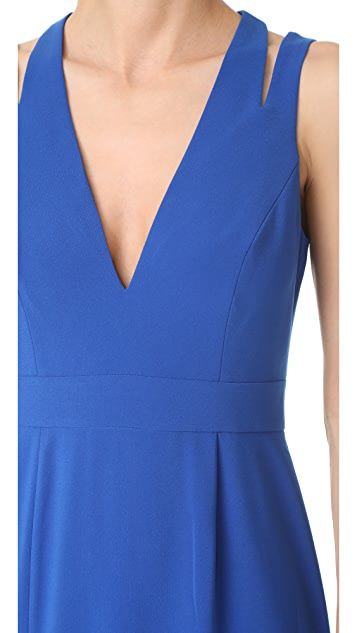 Halston Heritage Deep V Neck Gown with Back Cutouts
