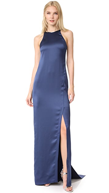 Halston Heritage High Neck Satin Gown with Back Drape