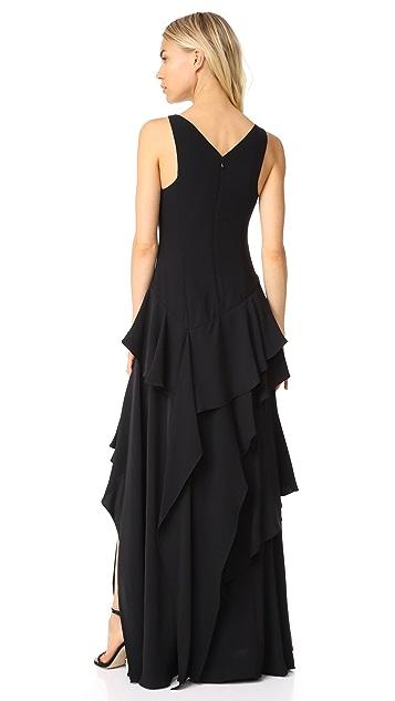 Halston Heritage V Neck Flounce Gown