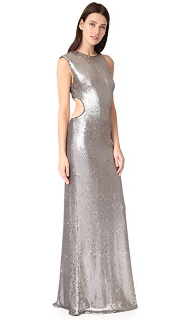 Halston Heritage Metallic Sequin Gown