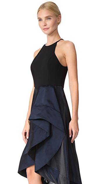 Halston Heritage High Neck Flounce Dress