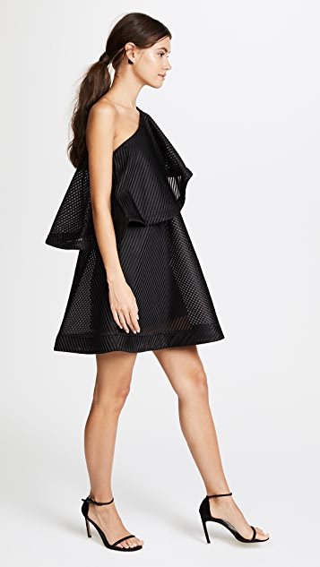 Halston Heritage One Shoulder Flounce Stripe Mesh Dress