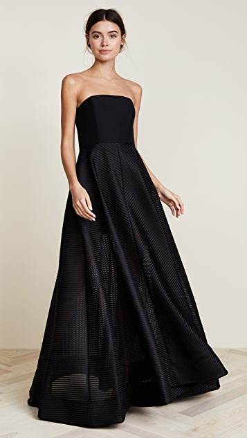 9e09477f157e Halston Heritage Strapless Gown with Sheer Striped Skirt | SHOPBOP