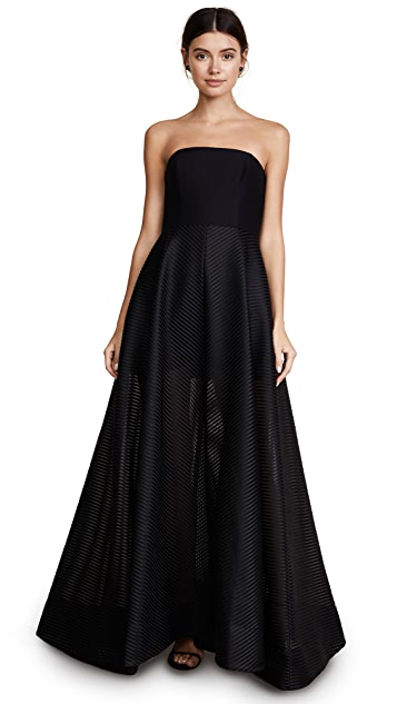 Halston Heritage Strapless Gown with Sheer Striped Skirt