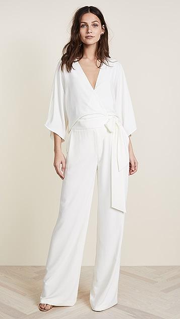 Halston Heritage Wrap Front Jumpsuit - Cream