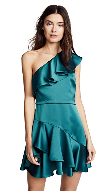 Halston Heritage One Shoulder Flounce Dress