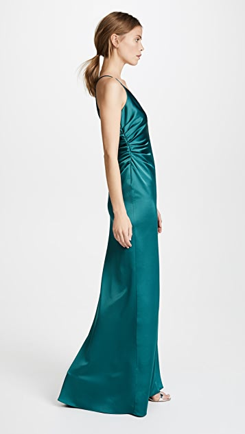 Halston Heritage Slip Gown with Side Gathers