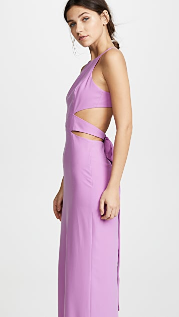 Halston Heritage High Neck Tie Back Gown