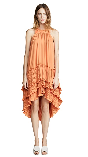 HALSTON Flowy Pleated Dress