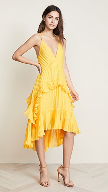 Halston Heritage Halter Pleated Dress