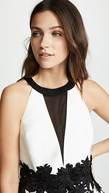Halston Heritage Round Neck Mini Dress