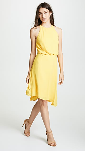 Halston Heritage Flowy Draped Back Dress