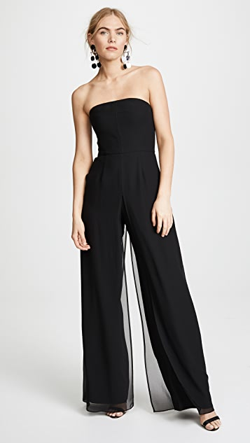 Halston Heritage Strapless Jumpsuit with Flowy Pants - Black