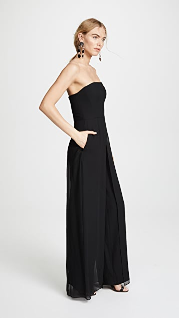 HALSTON Strapless Jumpsuit with Flowy Pants