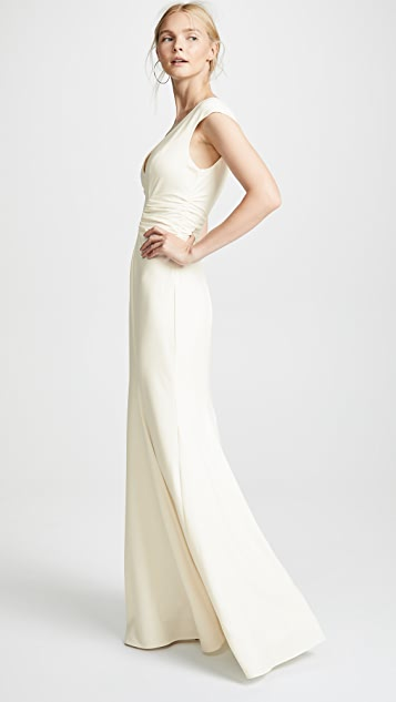 Halston Heritage Cap Sleeve Gown